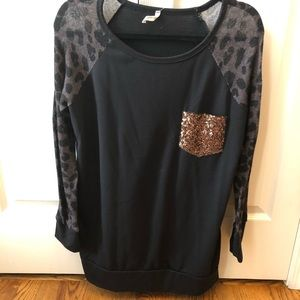 Black tunic with leopard and sequin detail